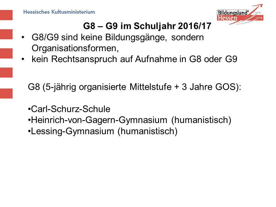 G8 – G9 im Schuljahr 2016/17 G8/G9 sind keine Bildungsgänge, sondern Organisationsformen, kein Rechtsanspruch auf Aufnahme in G8 oder G9 G8 (5-jährig