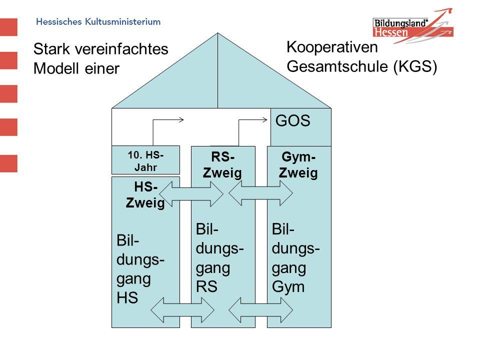 HS- Zweig Bil- dungs- gang HS RS- Zweig Bil- dungs- gang RS Gym- Zweig Bil- dungs- gang Gym Stark vereinfachtes Modell einer GOS 10. HS- Jahr Kooperat