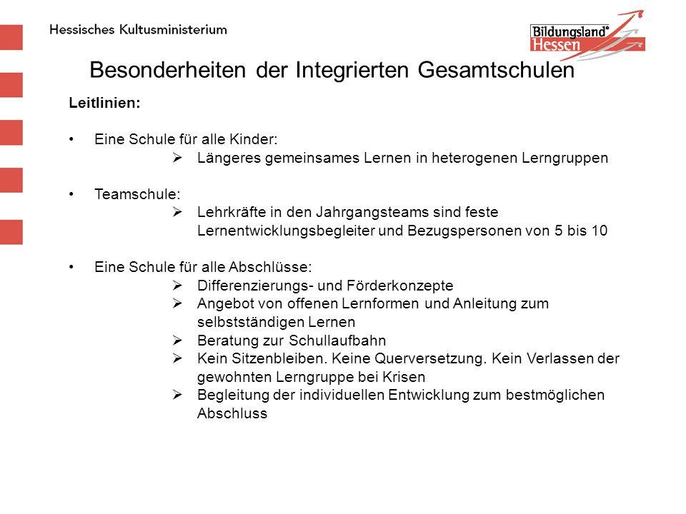 Besonderheiten der Integrierten Gesamtschulen Leitlinien: Eine Schule für alle Kinder:  Längeres gemeinsames Lernen in heterogenen Lerngruppen Teamsc