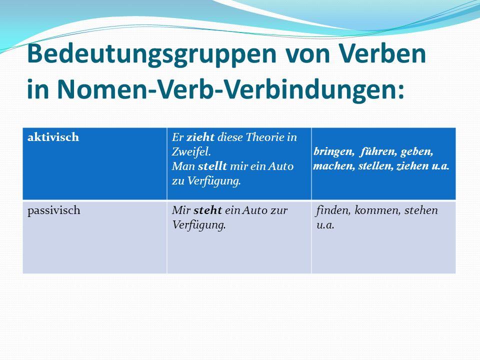 Bedeutungsgruppen von Verben in Nomen-Verb-Verbindungen: aktivischEr zieht diese Theorie in Zweifel.