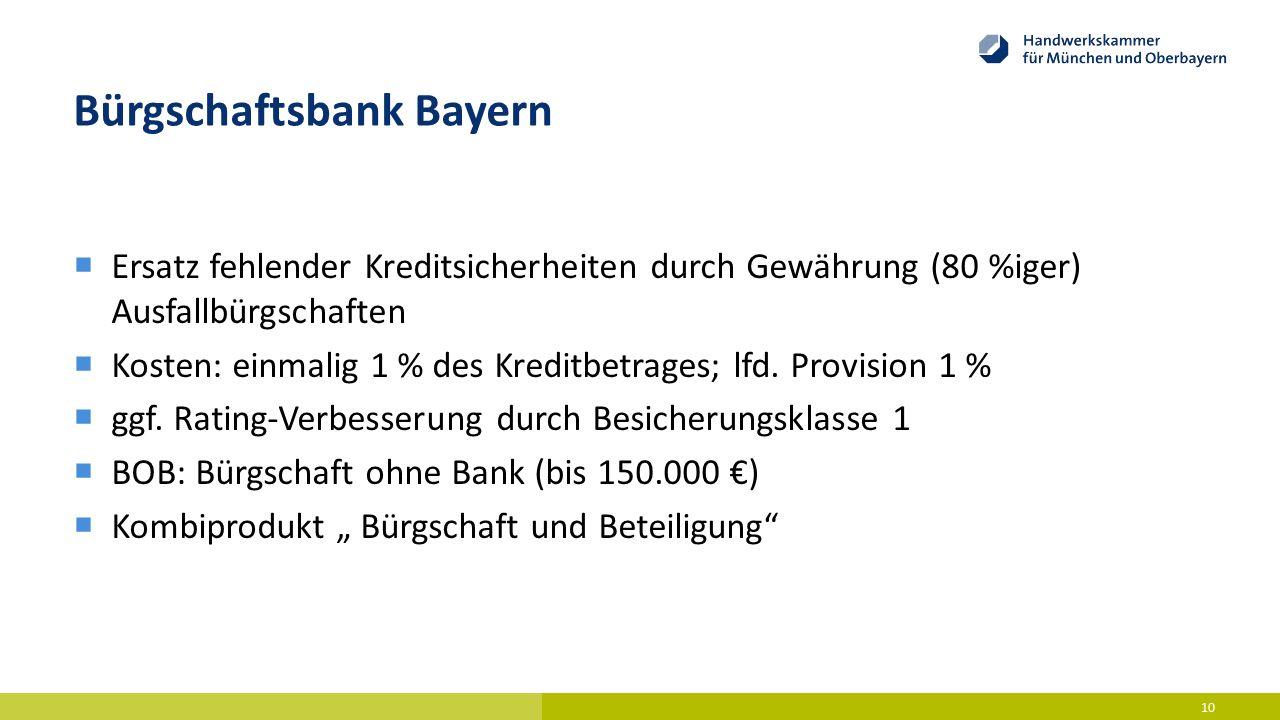 Bürgschaftsbank Bayern  Ersatz fehlender Kreditsicherheiten durch Gewährung (80 %iger) Ausfallbürgschaften  Kosten: einmalig 1 % des Kreditbetrages;