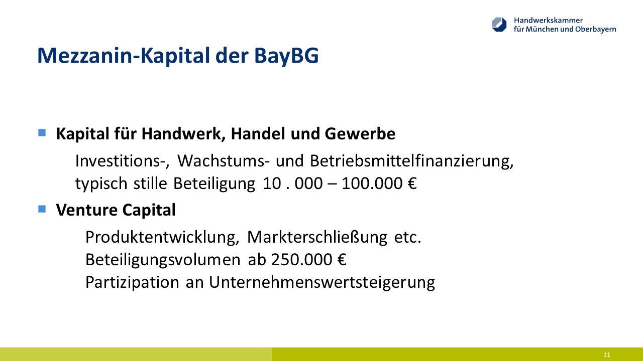 Mezzanin-Kapital der BayBG  Kapital für Handwerk, Handel und Gewerbe Investitions-, Wachstums- und Betriebsmittelfinanzierung, typisch stille Beteili