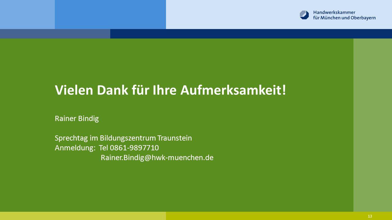 Vielen Dank für Ihre Aufmerksamkeit! 13 Rainer Bindig Sprechtag im Bildungszentrum Traunstein Anmeldung: Tel 0861-9897710 Rainer.Bindig@hwk-muenchen.d