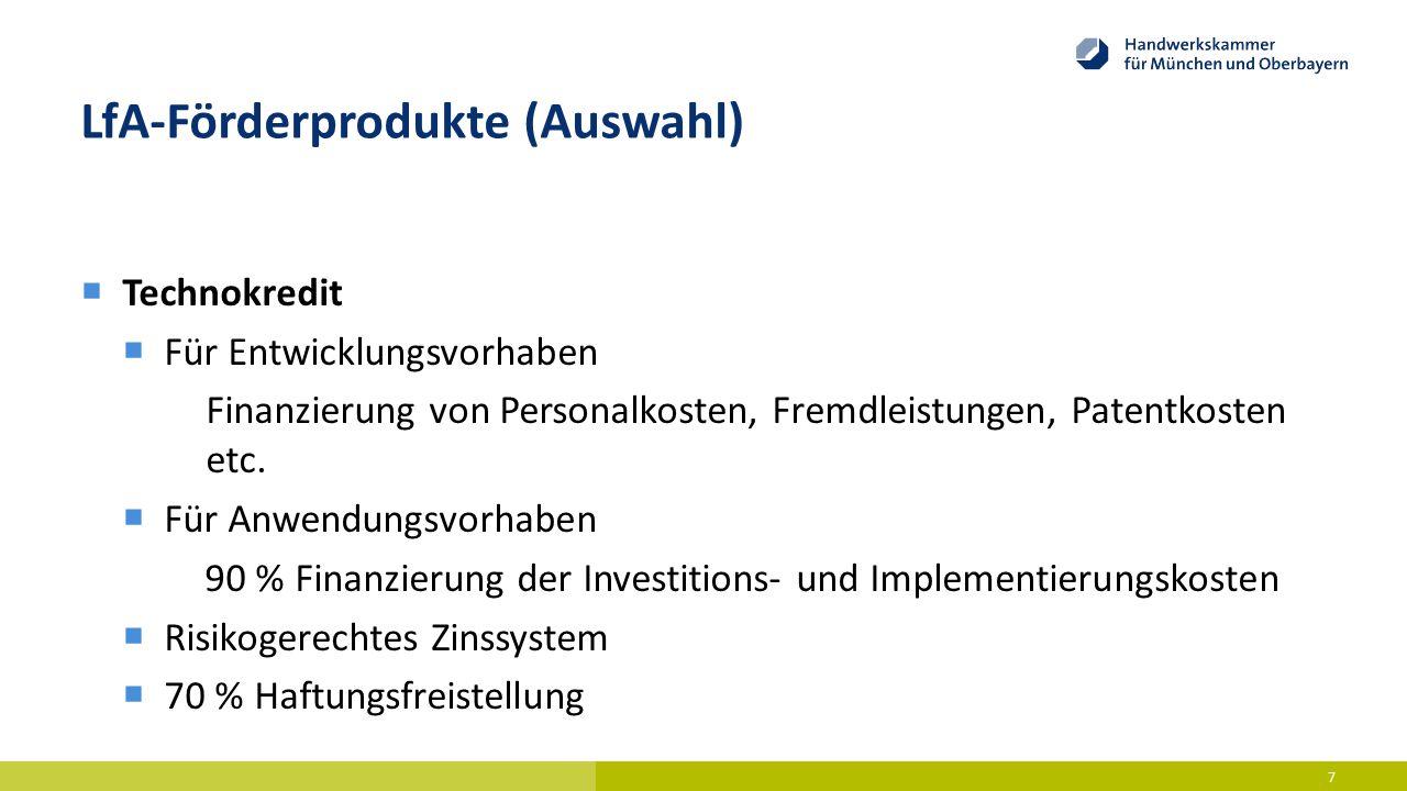 LfA-Förderprodukte (Auswahl)  Technokredit  Für Entwicklungsvorhaben Finanzierung von Personalkosten, Fremdleistungen, Patentkosten etc.  Für Anwen