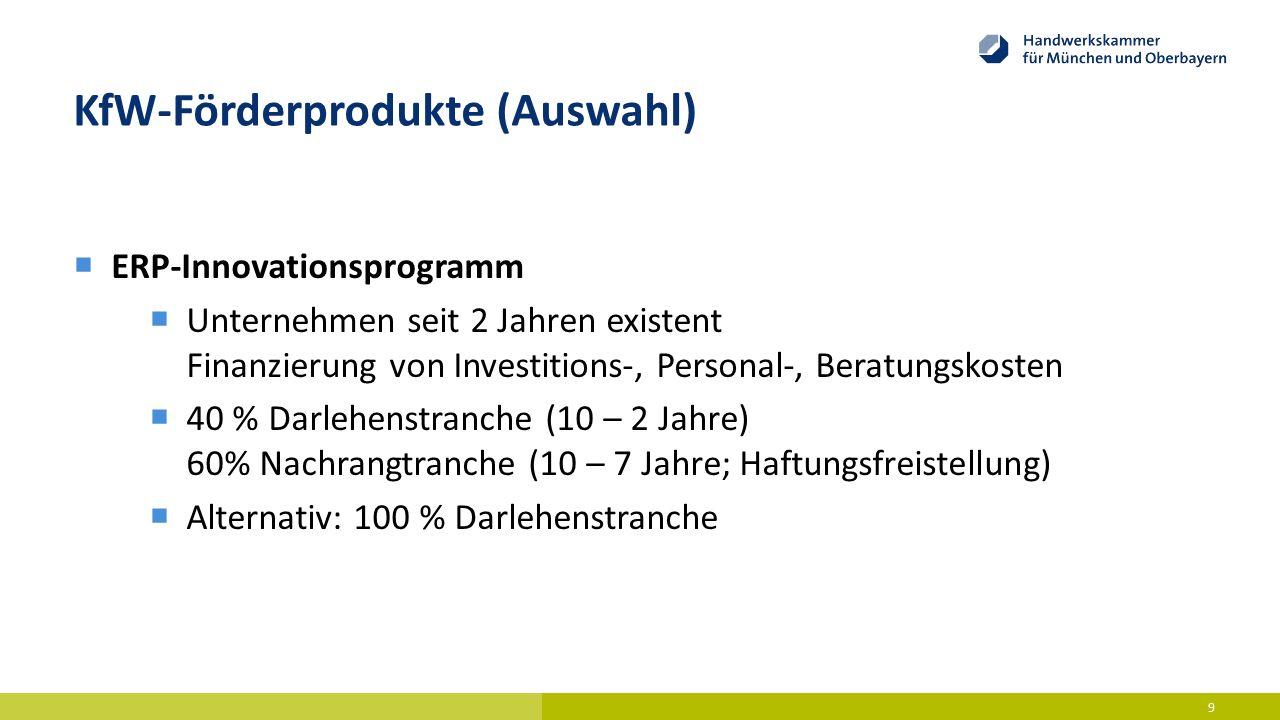 KfW-Förderprodukte (Auswahl)  ERP-Innovationsprogramm  Unternehmen seit 2 Jahren existent Finanzierung von Investitions-, Personal-, Beratungskosten
