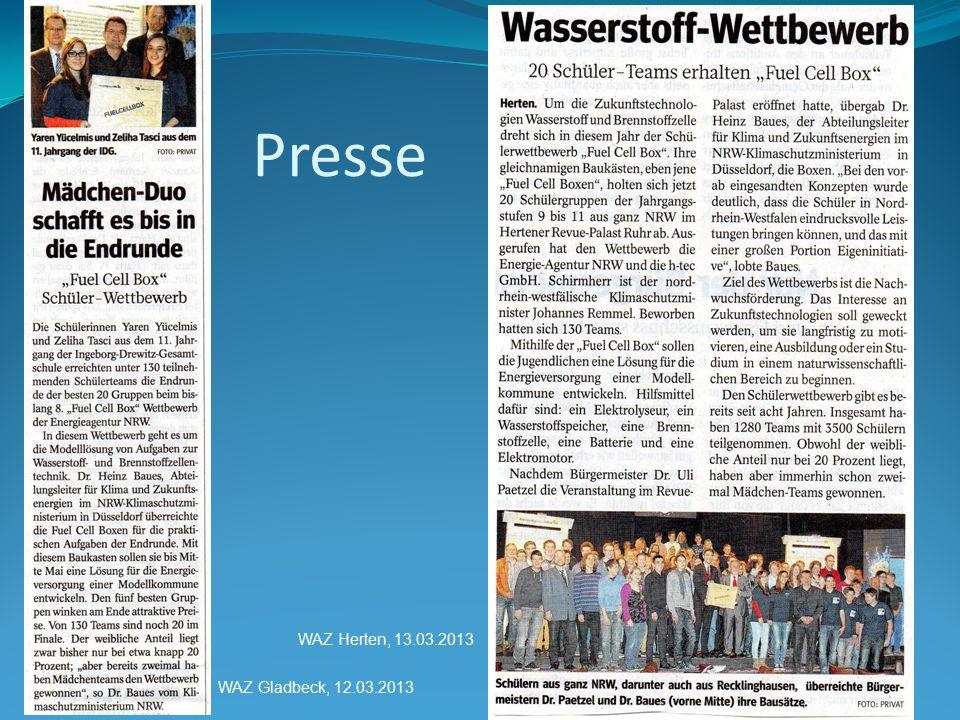 Presse WAZ Gladbeck, 12.03.2013 WAZ Herten, 13.03.2013