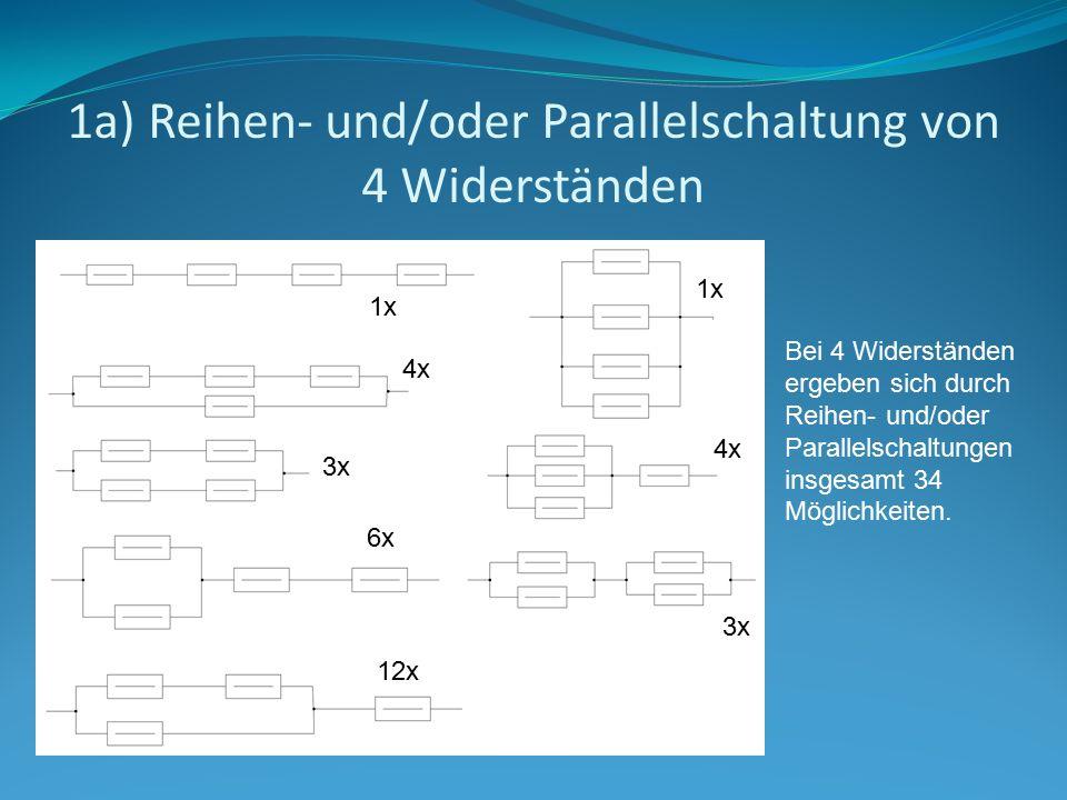 1a) Reihen- und/oder Parallelschaltung von 4 Widerständen 1x 4x 3x 6x 12x Bei 4 Widerständen ergeben sich durch Reihen- und/oder Parallelschaltungen i