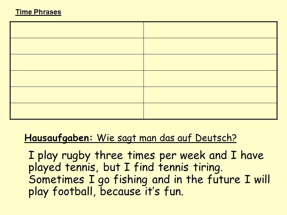 Hausaufgaben: Wie sagt man das auf Deutsch.
