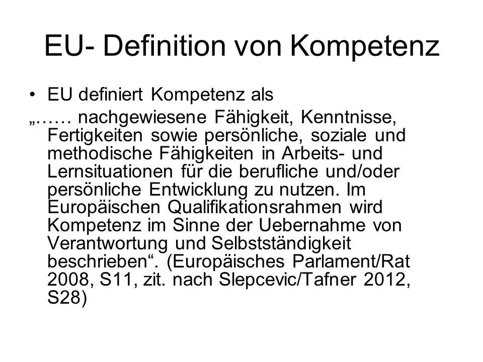 """EU- Definition von Kompetenz EU definiert Kompetenz als """"…… nachgewiesene Fähigkeit, Kenntnisse, Fertigkeiten sowie persönliche, soziale und methodisc"""