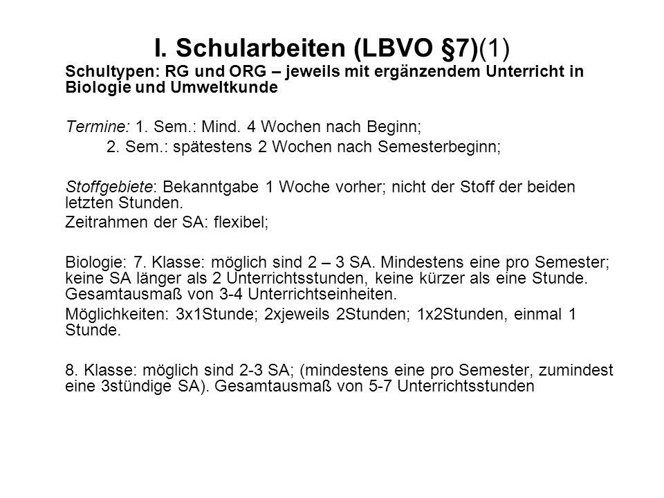 I. Schularbeiten (LBVO §7)(1) Schultypen: RG und ORG – jeweils mit ergänzendem Unterricht in Biologie und Umweltkunde Termine: 1. Sem.: Mind. 4 Wochen