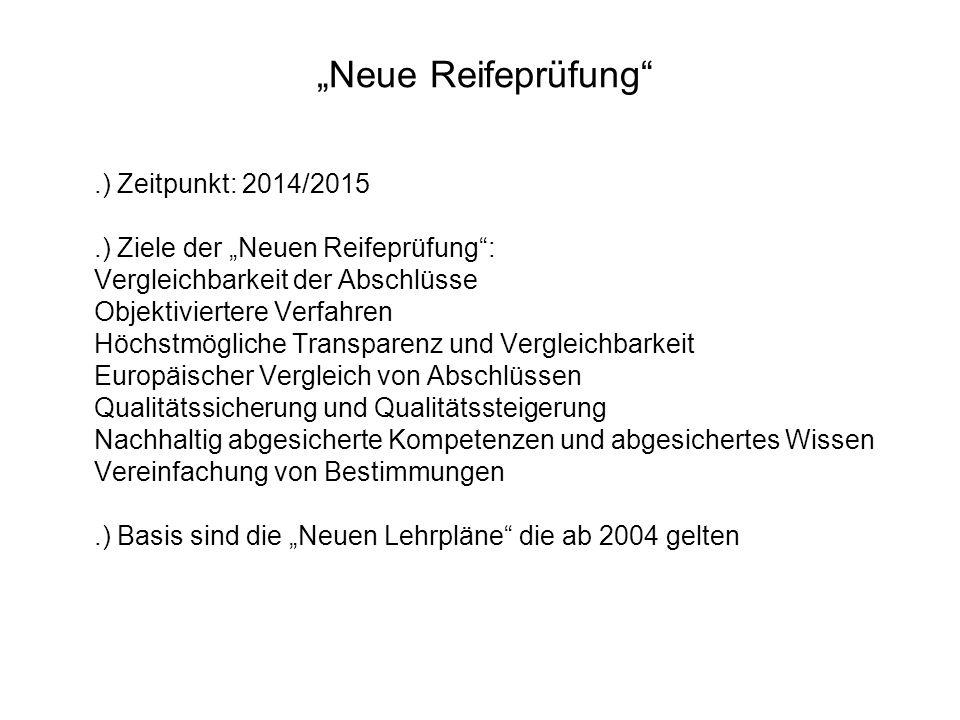 """""""Neue Reifeprüfung"""".) Zeitpunkt: 2014/2015.) Ziele der """"Neuen Reifeprüfung"""": Vergleichbarkeit der Abschlüsse Objektiviertere Verfahren Höchstmögliche"""