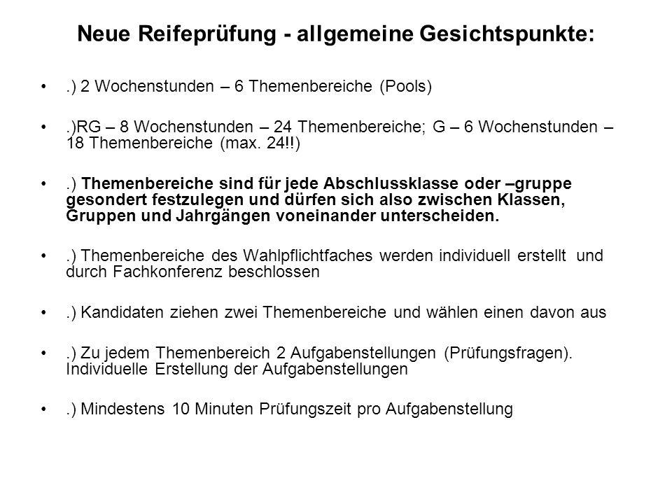 Neue Reifeprüfung - allgemeine Gesichtspunkte:.) 2 Wochenstunden – 6 Themenbereiche (Pools).)RG – 8 Wochenstunden – 24 Themenbereiche; G – 6 Wochenstu