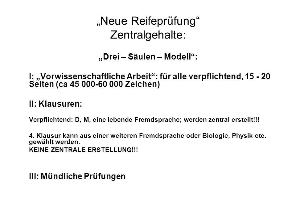 """""""Neue Reifeprüfung"""" Zentralgehalte: """"Drei – Säulen – Modell"""": I: """"Vorwissenschaftliche Arbeit"""": für alle verpflichtend, 15 - 20 Seiten (ca 45 000-60 0"""
