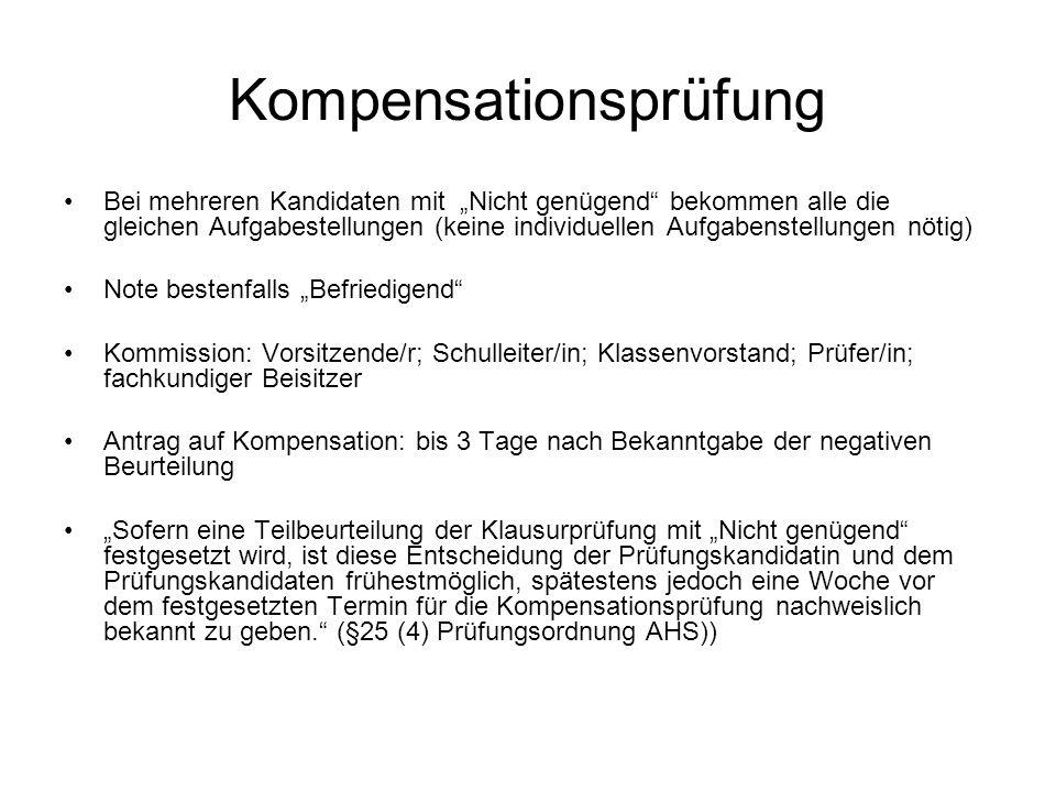 """Kompensationsprüfung Bei mehreren Kandidaten mit """"Nicht genügend"""" bekommen alle die gleichen Aufgabestellungen (keine individuellen Aufgabenstellungen"""