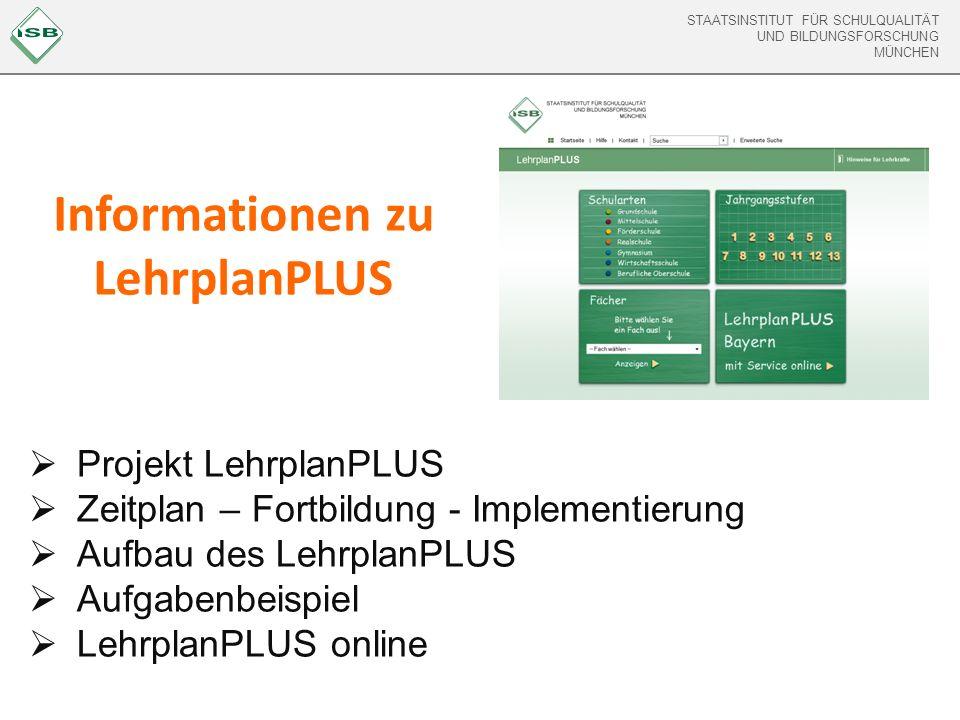 STAATSINSTITUT FÜR SCHULQUALITÄT UND BILDUNGSFORSCHUNG MÜNCHEN STAATSINSTITUT FÜR SCHULQUALITÄT UND BILDUNGSFORSCHUNG MÜNCHEN Das Projekt LehrplanPLUS Bayern Projekt LehrplanPLUS