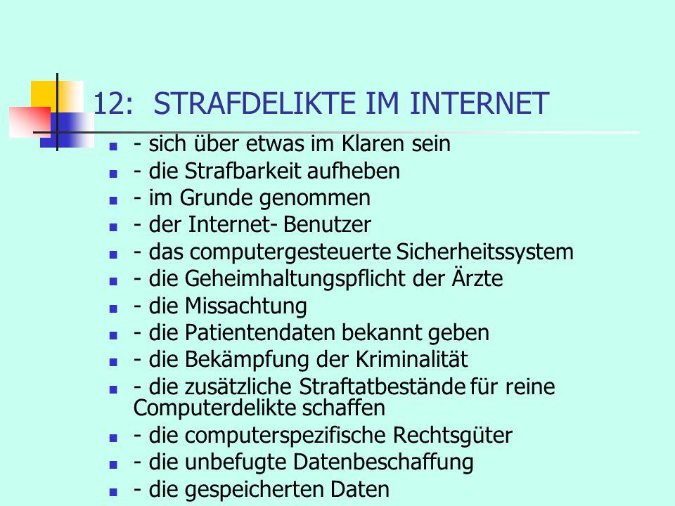 12: STRAFDELIKTE IM INTERNET - sich über etwas im Klaren sein - die Strafbarkeit aufheben - im Grunde genommen - der Internet- Benutzer - das computer