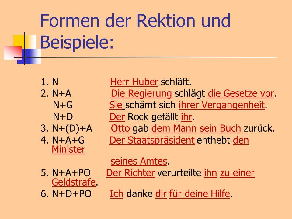 Formen der Rektion und Beispiele: 1. N Herr Huber schläft. 2. N+A Die Regierung schlägt die Gesetze vor. N+G Sie schämt sich ihrer Vergangenheit. N+D