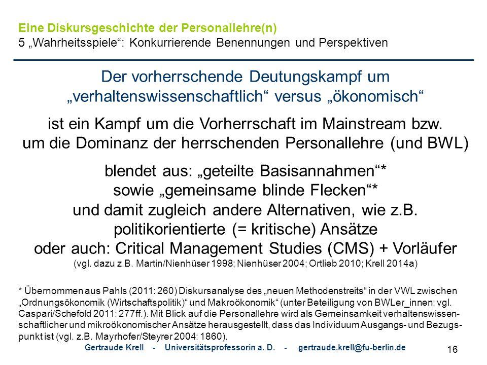 Gertraude Krell - Universitätsprofessorin a.D.