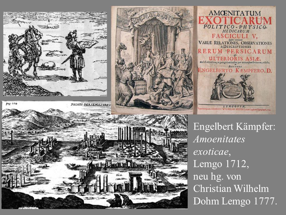 Engelbert Kämpfer: Amoenitates exoticae, Lemgo 1712, neu hg. von Christian Wilhelm Dohm Lemgo 1777.