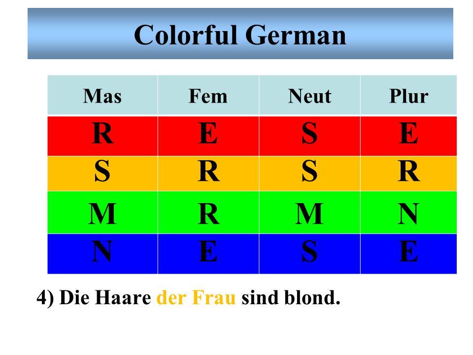 Colorful German MasFemNeutPlur RESE SRSR MRMN NESE 3) Er spielt mit dem Kind Schach.