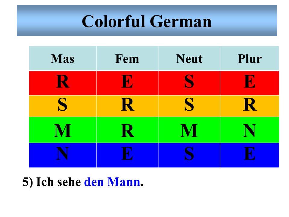 Colorful German MasFemNeutPlur RESE SRSR MRMN NESE 4) Die Haare der Frau sind blond.