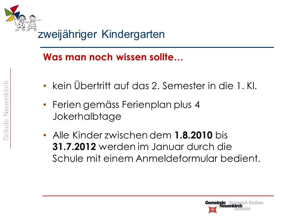 Schule Neuenkirch Was man noch wissen sollte… kein Übertritt auf das 2.