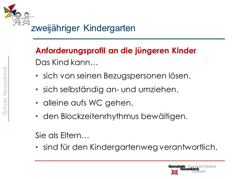 Schule Neuenkirch Vorgehen bei Überforderung Ist das Kind überfordert oder kann den Anforderungen nicht gerecht werden, wird die Kindergartenlehrperson die Eltern (oder umgekehrt) kontaktieren und das weitere Vorgehen besprechen (Rückstellung um ein halbes/ganzes Jahr).