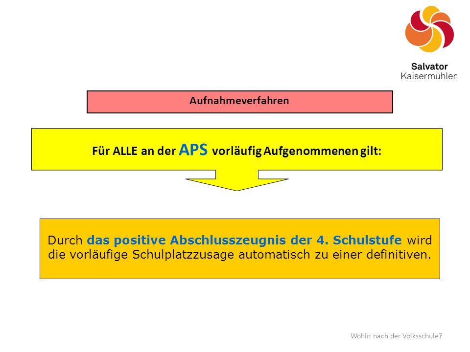 Für ALLE an der APS vorläufig Aufgenommenen gilt: Aufnahmeverfahren Wohin nach der Volksschule.