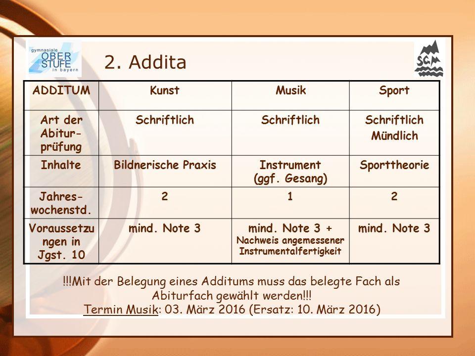 ADDITUMKunstMusikSport Art der Abitur- prüfung Schriftlich Mündlich InhalteBildnerische PraxisInstrument (ggf. Gesang) Sporttheorie Jahres- wochenstd.