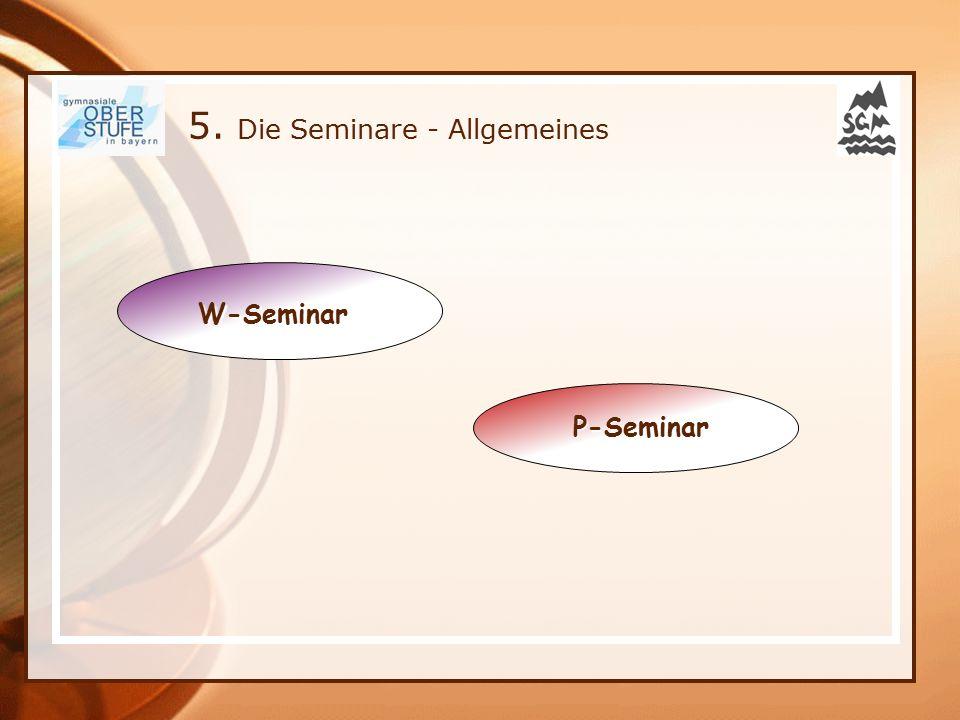 5. Die Seminare - Allgemeines W-Seminar P-Seminar P-Seminar
