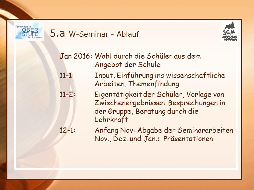 5.a W-Seminar - Ablauf Jan 2016: Wahl durch die Schüler aus dem Angebot der Schule 11-1: Input, Einführung ins wissenschaftliche Arbeiten, Themenfindu