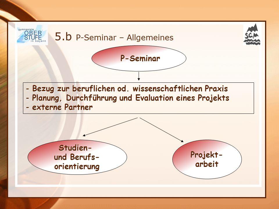 5.b P-Seminar – Allgemeines P-Seminar P-Seminar - Bezug zur beruflichen od. wissenschaftlichen Praxis - Planung, Durchführung und Evaluation eines Pro