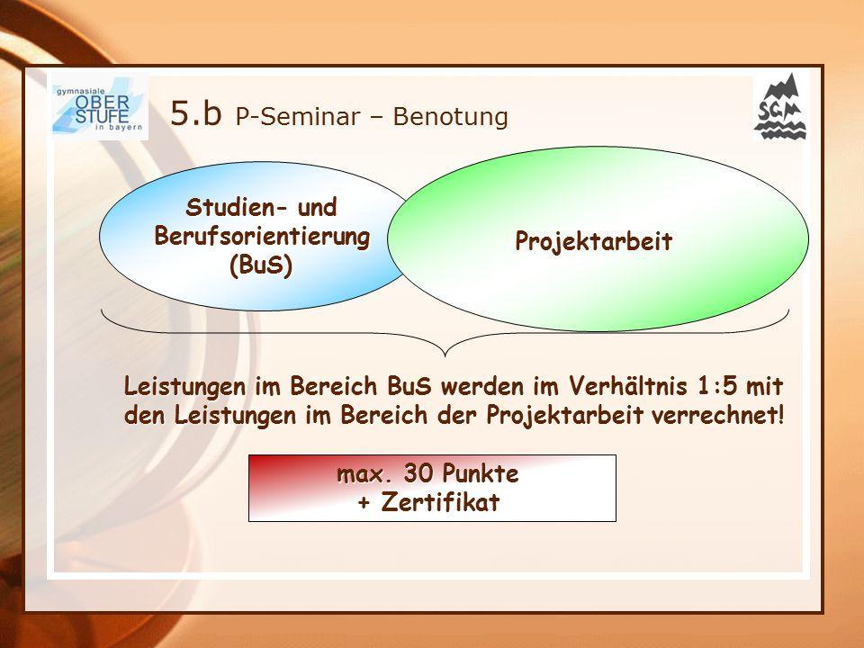 Studien- und Berufsorientierung(BuS) Projektarbeit max. 30 Punkte + Zertifikat Leistungen im Bereich BuS werden im Verhältnis 1:5 mit den Leistungen i
