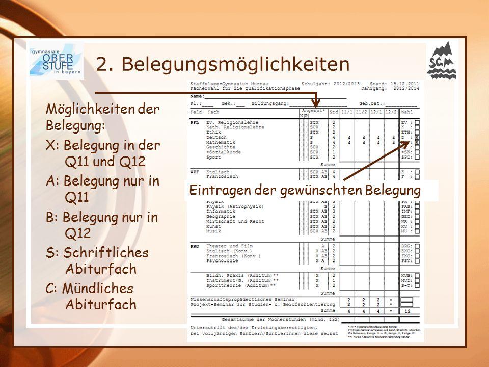 2. Belegungsmöglichkeiten 11.12.2015 Möglichkeiten der Belegung: X: Belegung in der Q11 und Q12 A: Belegung nur in Q11 B: Belegung nur in Q12 S: Schri