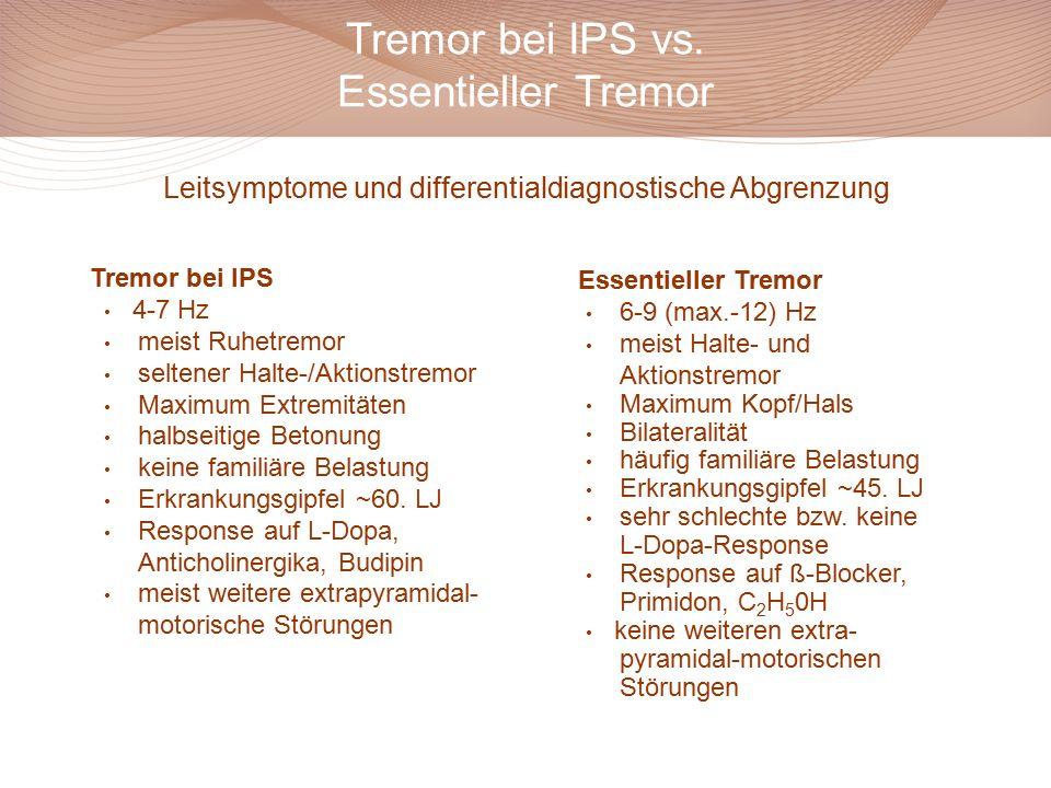 Tremor bei IPS vs. Essentieller Tremor Leitsymptome und differentialdiagnostische Abgrenzung Tremor bei IPS 4-7 Hz meist Ruhetremor seltener Halte-/Ak