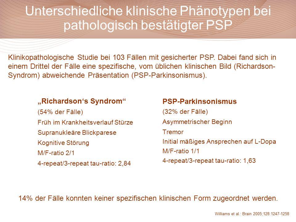 """Unterschiedliche klinische Phänotypen bei pathologisch bestätigter PSP """"Richardson's Syndrom"""" (54% der Fälle) Früh im Krankheitsverlauf Stürze Supranu"""