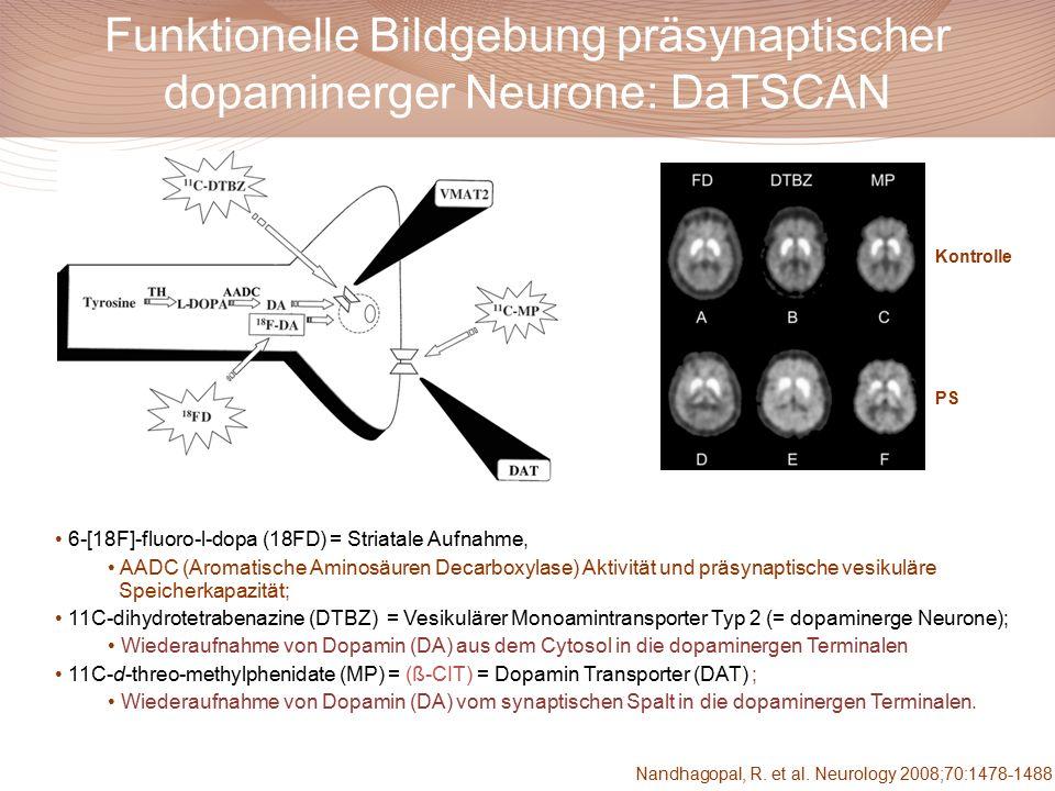 Nandhagopal, R. et al. Neurology 2008;70:1478-1488 Funktionelle Bildgebung präsynaptischer dopaminerger Neurone: DaTSCAN Kontrolle PS 6-[18F]-fluoro-l
