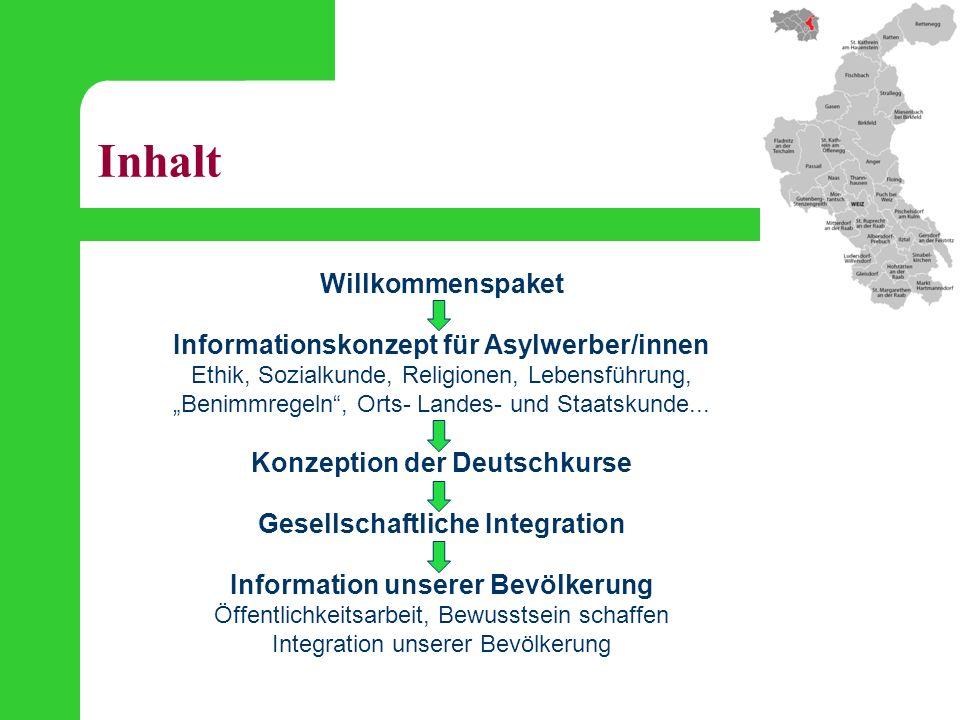 """Inhalt Willkommenspaket Informationskonzept für Asylwerber/innen Ethik, Sozialkunde, Religionen, Lebensführung, """"Benimmregeln"""", Orts- Landes- und Staa"""
