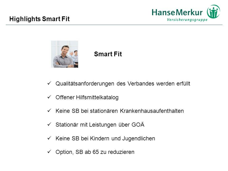 Highlights Smart Fit Qualitätsanforderungen des Verbandes werden erfüllt Offener Hilfsmittelkatalog Keine SB bei stationären Krankenhausaufenthalten S