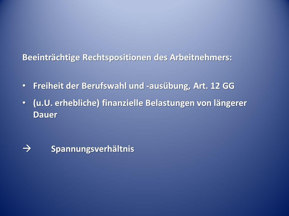 Beeinträchtige Rechtspositionen des Arbeitnehmers: Freiheit der Berufswahl und -ausübung, Art.