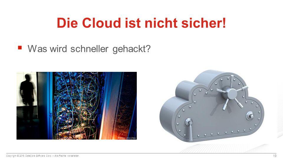 Copyright © 2015 DataCore Software Corp. – Alle Rechte vorbehalten.  Was wird schneller gehackt? 19 Die Cloud ist nicht sicher!