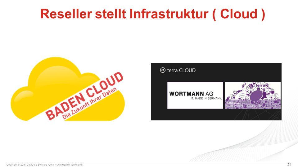 Copyright © 2015 DataCore Software Corp. – Alle Rechte vorbehalten. 24 Reseller stellt Infrastruktur ( Cloud )