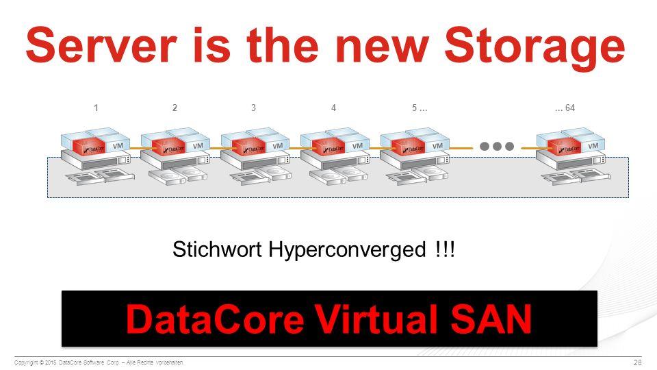 Copyright © 2015 DataCore Software Corp. – Alle Rechte vorbehalten. 28 Server is the new Storage 125...... 6443 Stichwort Hyperconverged !!! DataCore