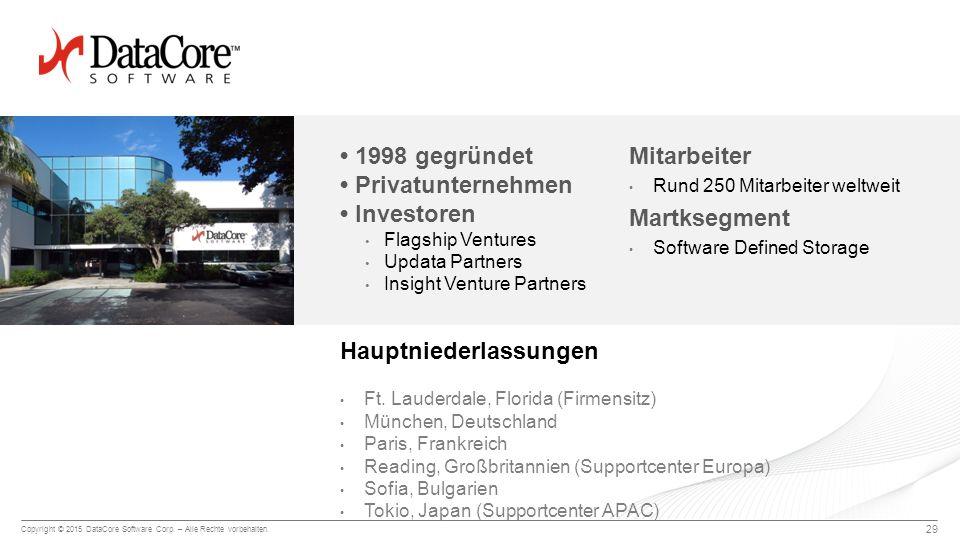 Copyright © 2015 DataCore Software Corp. – Alle Rechte vorbehalten. 29 Mitarbeiter Rund 250 Mitarbeiter weltweit Martksegment Software Defined Storage