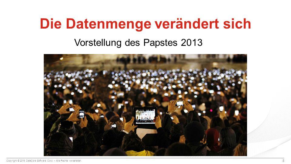 Copyright © 2015 DataCore Software Corp. – Alle Rechte vorbehalten. Die Datenmenge verändert sich 8 Vorstellung des Papstes 2013