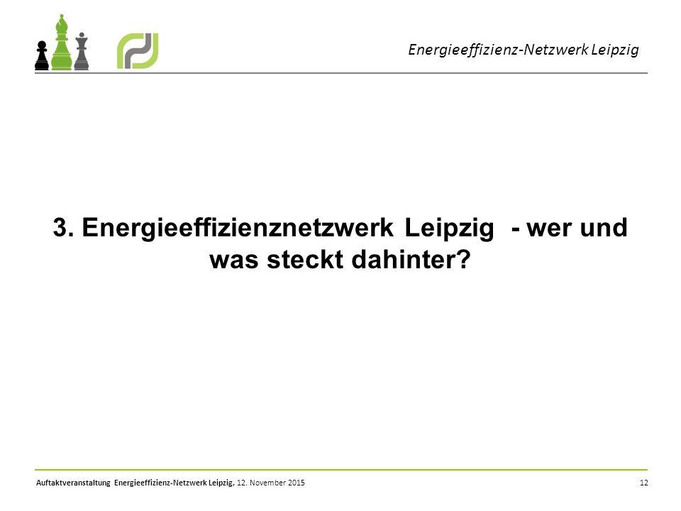 12 Energieeffizienz-Netzwerk Leipzig 3. Energieeffizienznetzwerk Leipzig - wer und was steckt dahinter?