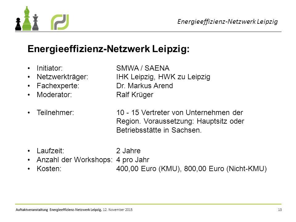 13 Energieeffizienz-Netzwerk Leipzig Energieeffizienz-Netzwerk Leipzig: Initiator: SMWA / SAENA Netzwerkträger:IHK Leipzig, HWK zu Leipzig Fachexperte:Dr.