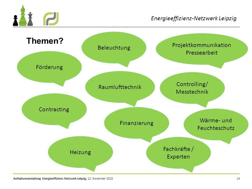 14 Energieeffizienz-Netzwerk Leipzig Themen? Förderung Beleuchtung Controlling/ Messtechnik Finanzierung Contracting Wärme- und Feuchteschutz Heizung