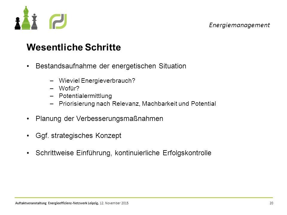 20 Energiemanagement Auftaktveranstaltung Energieeffizienz-Netzwerk Leipzig, 12. November 2015 Wesentliche Schritte Bestandsaufnahme der energetischen