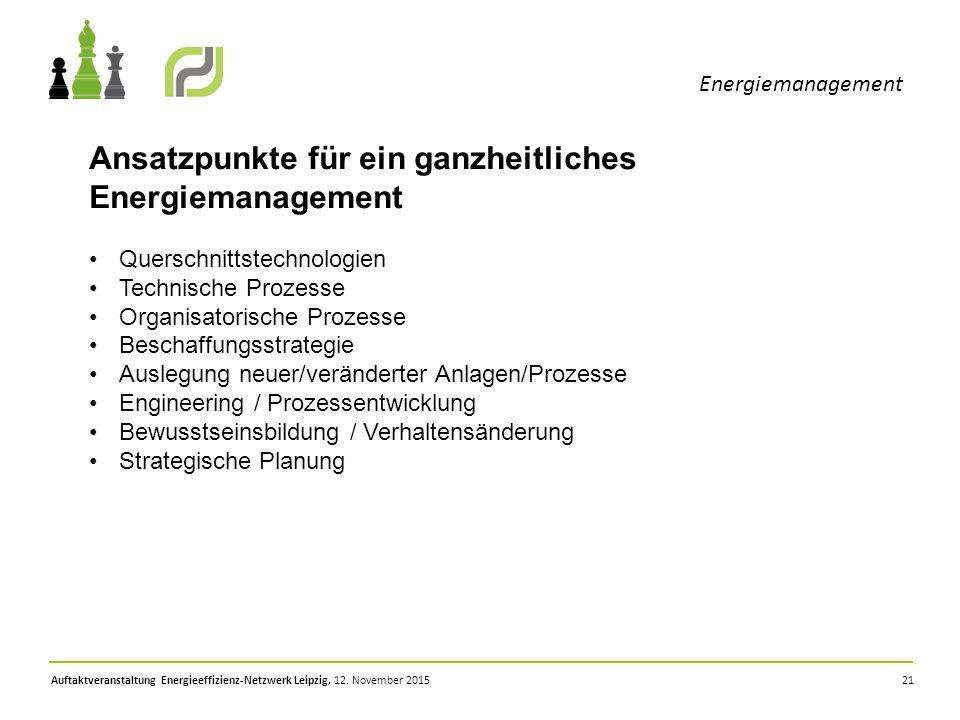 21 Energiemanagement Auftaktveranstaltung Energieeffizienz-Netzwerk Leipzig, 12. November 2015 Ansatzpunkte für ein ganzheitliches Energiemanagement Q